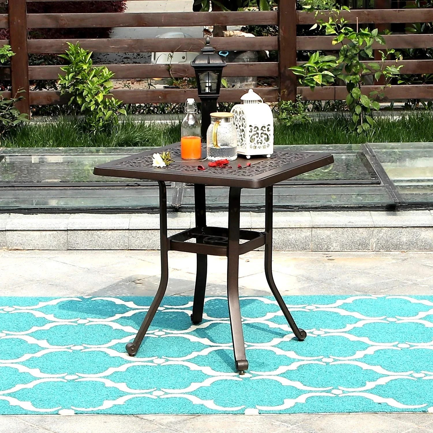 sophia william outdoor patio dining table square modern cast aluminum outdoor furniture dining table with umbrella hole