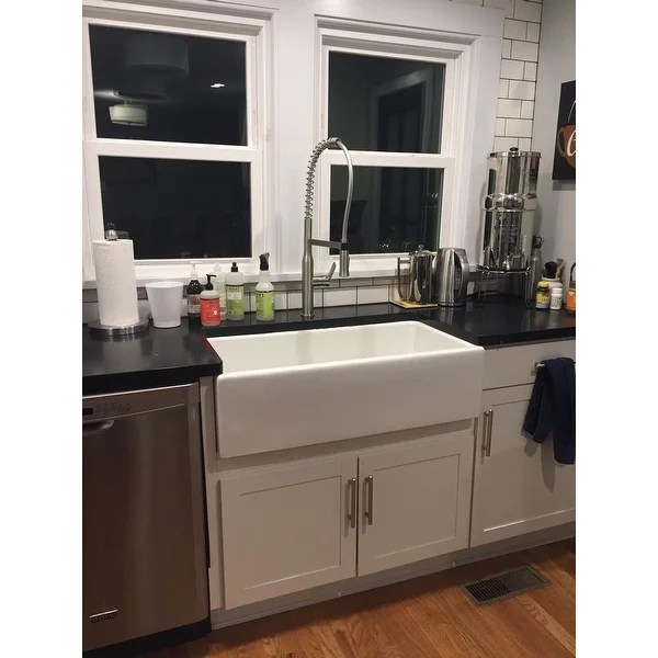 36 inch kitchen sink refrigerator cabinets shop highpoint collection white single bowl rectangle fireclay farmhouse free shipping today overstock com 10363453