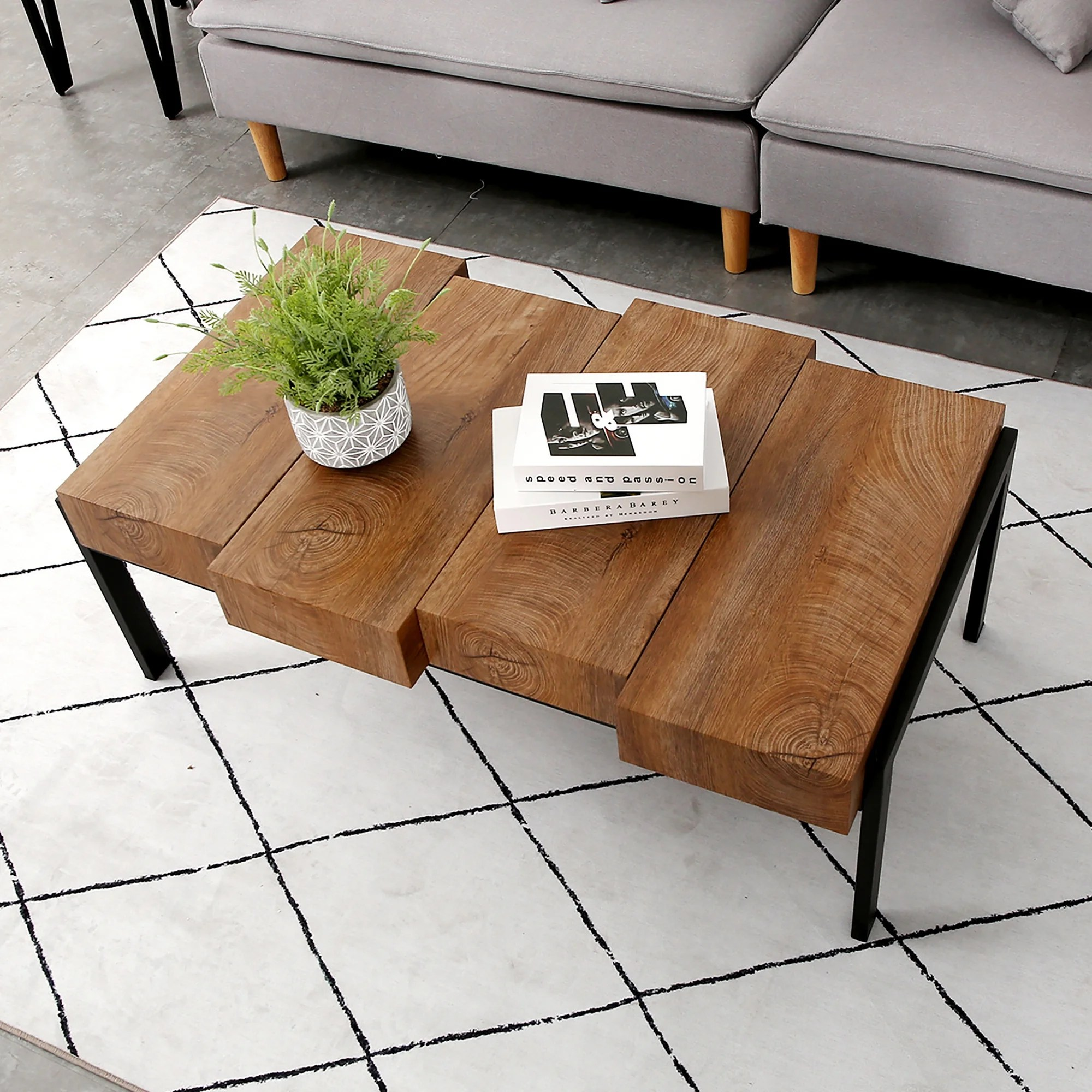 Modern Mid Century Coffee Table For Living Room Rustic Wood Rectangular Coffee Table Accent Table Metal Frame Overstock 28753576