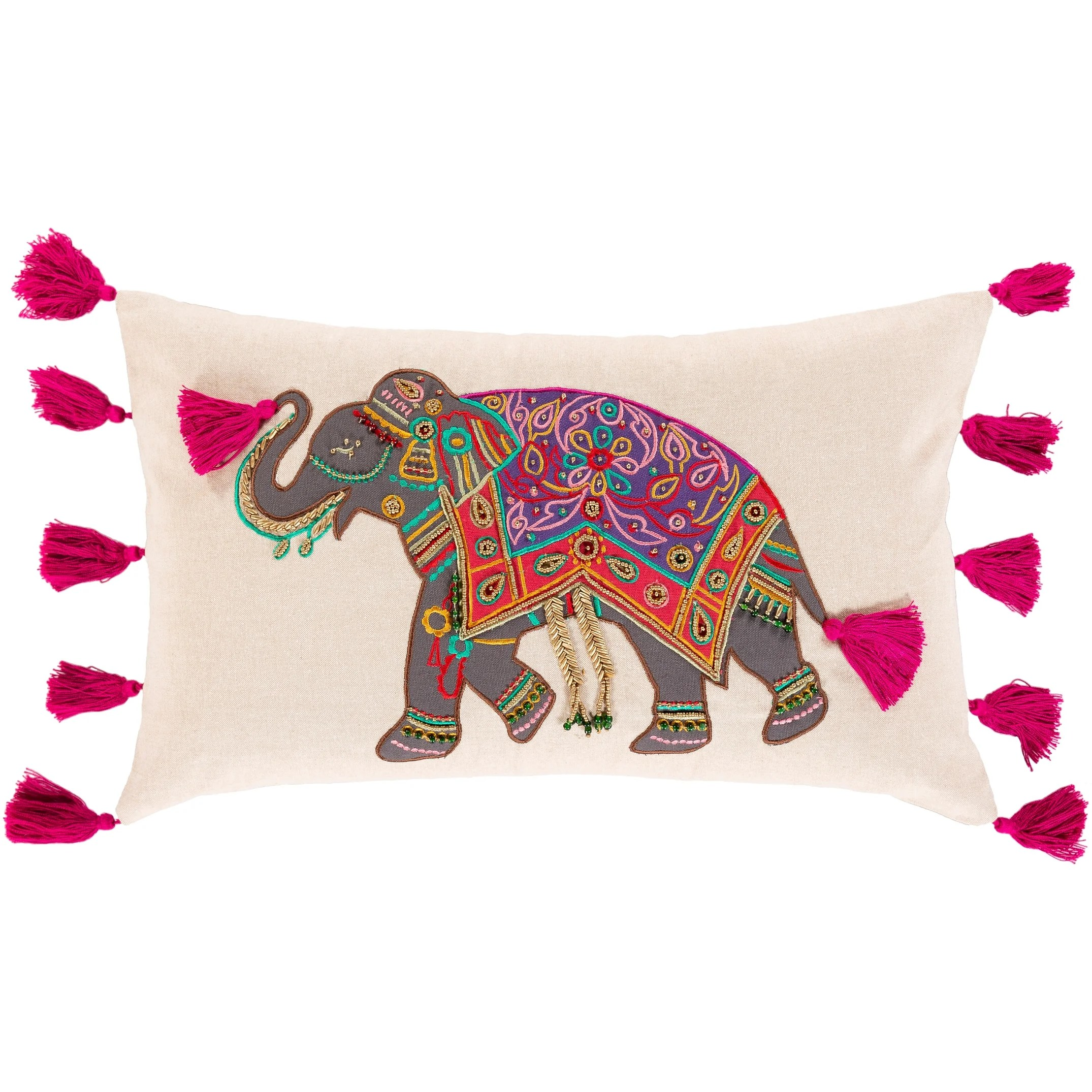 petra handwoven embroidered elephant throw pillow