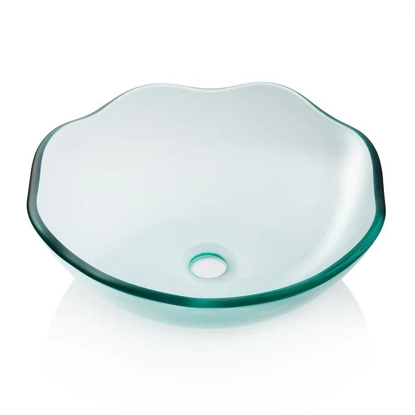 Shop Modern Glass Vessel Sink Counter Bathroom Vanity Scalloped Clear Overstock 31128887