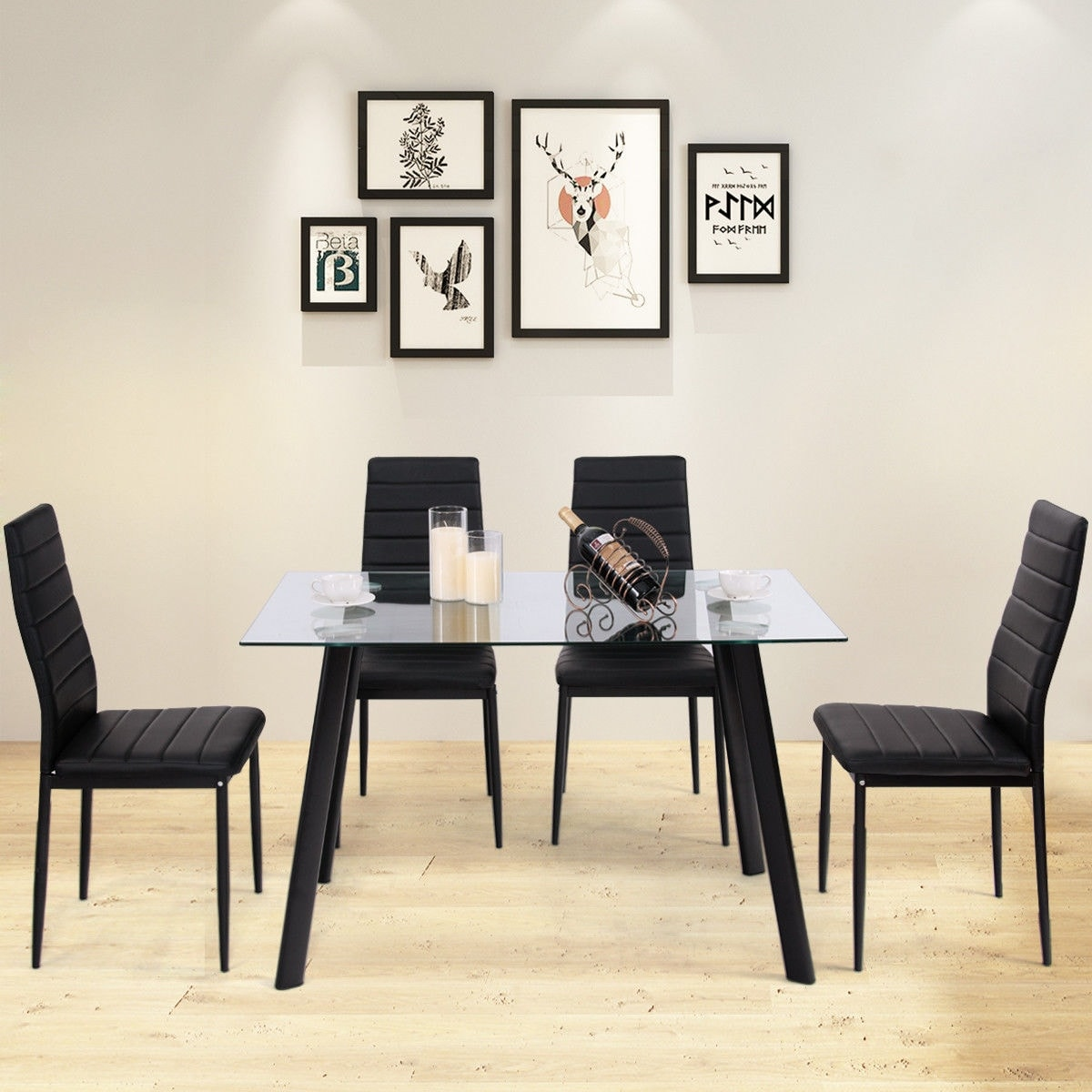 Dining Room Chairs Set Of 4 Costway Modern Glass Dining Table Set Tempered Glass Top Pvc Leather Chair W 4 Chairs Black