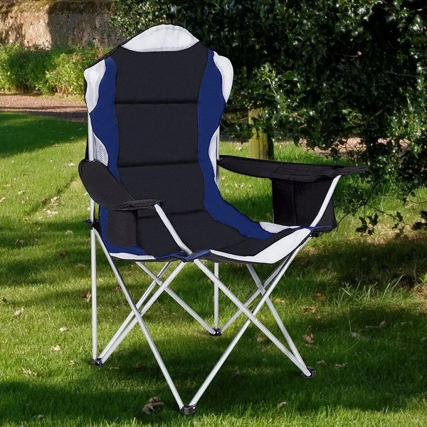 folding bag chair chromcraft kitchen chairs shop costway fishing camping seat cup holder beach picnic outdoor portable black