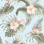 Tropical Vintage Hibiscus Flower Removable Wallpaper 10 Ft H X 24 Inch W Overstock 31701894
