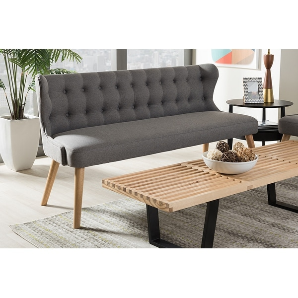 living room settee benches black chair shop melody grey fabric and natural wood finishing 3 seater bench