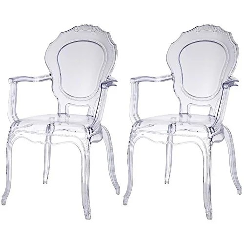 transparent polycarbonate chairs power chair batteries shop 2xhome set of two 2 clear modern belle armchair with arm plastic free shipping today