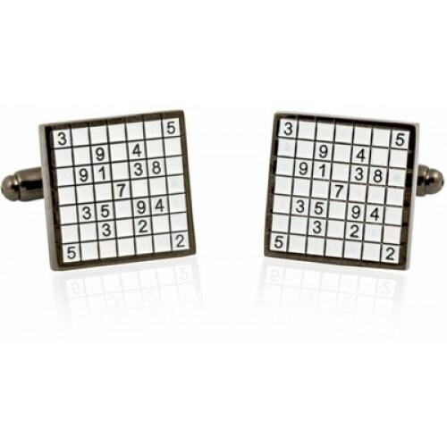 Shop Sudoko Cufflinks Number Crossword Math Game On Sale