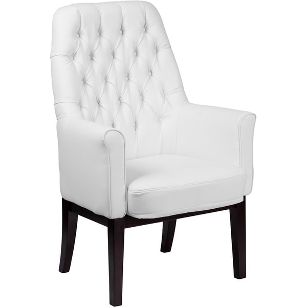 high back tufted chair baby food mothercare shop silkeborg white leather side reception