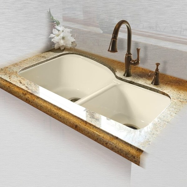 cast iron kitchen sinks american made knives shop miseno mci68 4um 33 double basin undermount sink