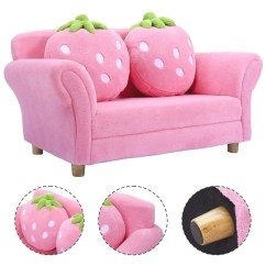 Kids Lounge Chairs Bedroom Chair Walmart Canada Shop Costway Sofa Strawberry Armrest Couch W 2 Pillow Children Toddler Pink