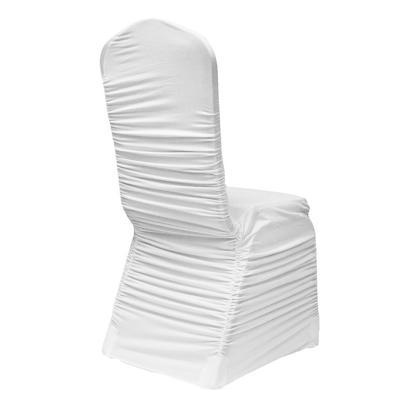 spandex banquet chair covers for sale high chairs babies r us shop white ruched fashion cover pack of 10 free shipping today overstock com 18739931