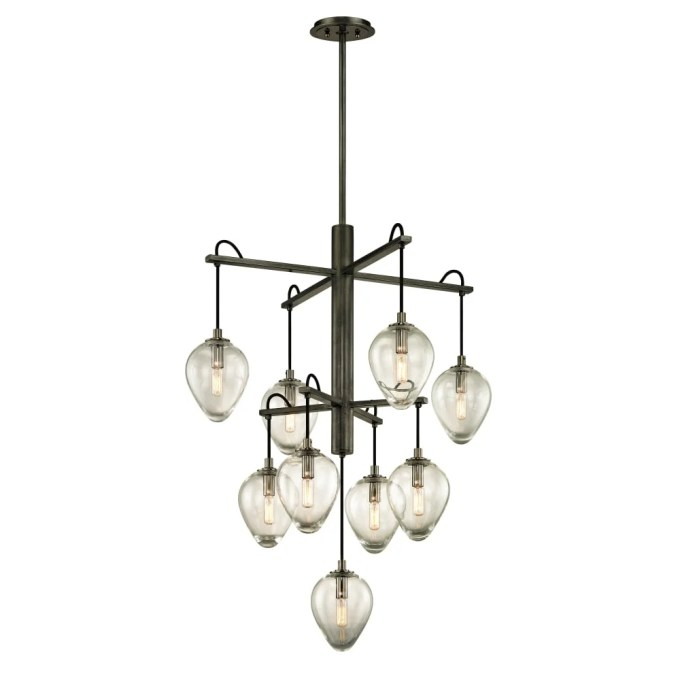 Troy Lighting F6207 Brixton 9 Light 30 1 4 Wide Chandelier With Clear Glass Aco Gunmetal Smoked Chrome Overstock 22914172