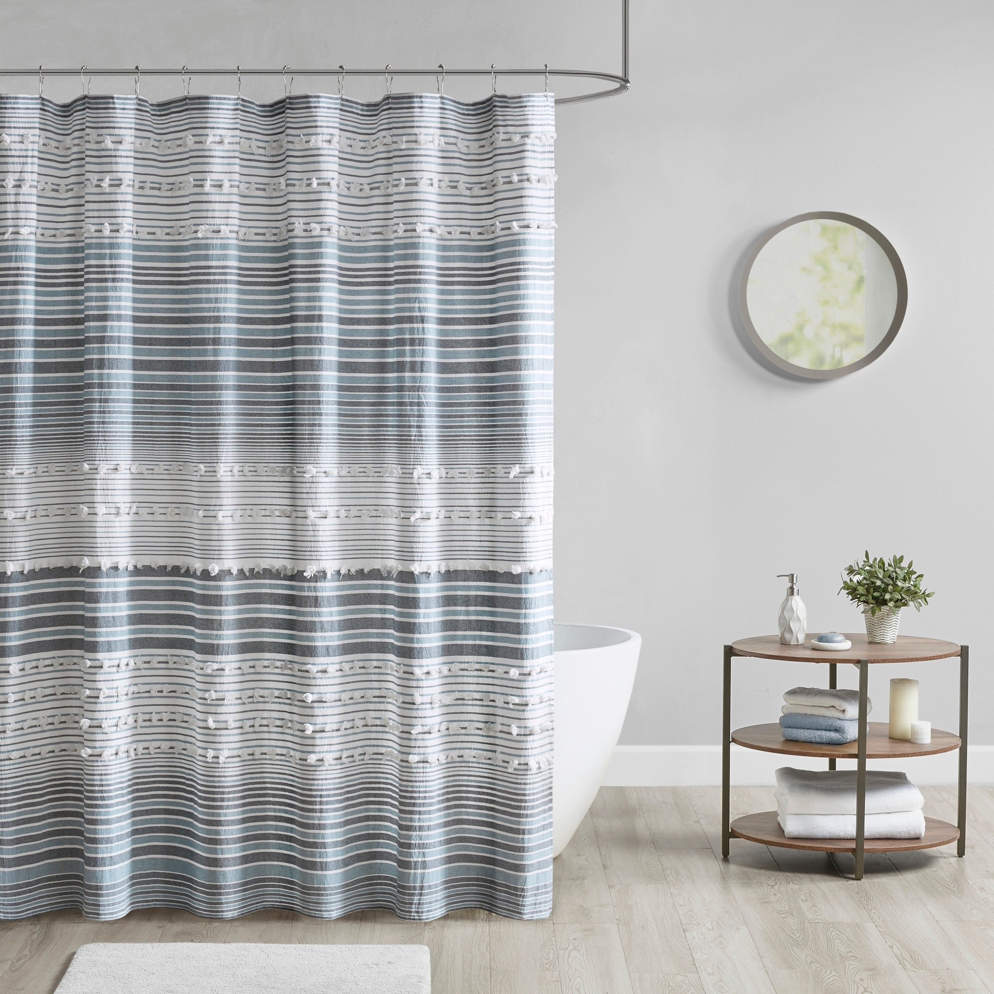 urban habitat charlie cotton yarn dye shower curtain with pom poms