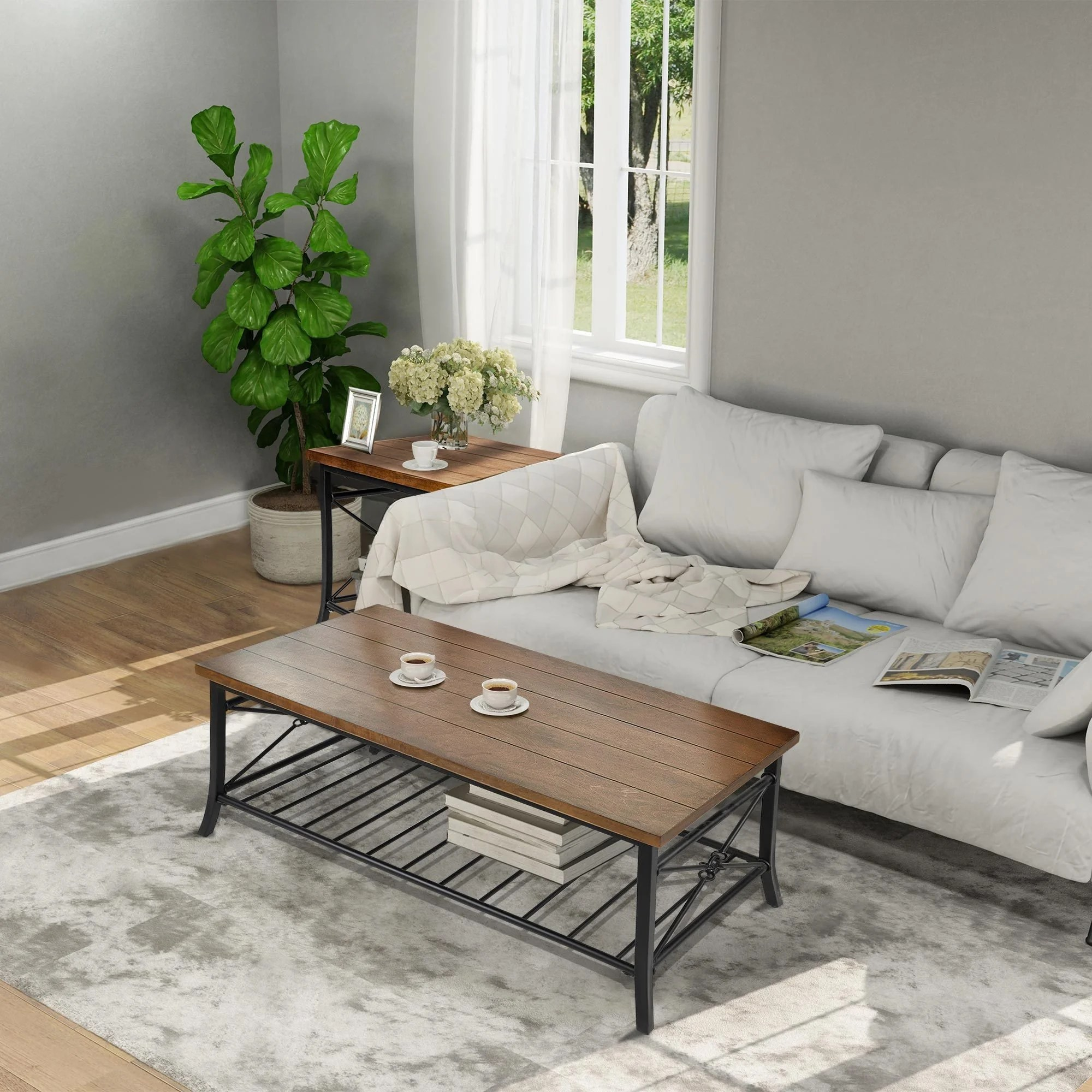 modern farmhouse wood coffee table sets with metal storage shelf 1 coffee table 2 side tables