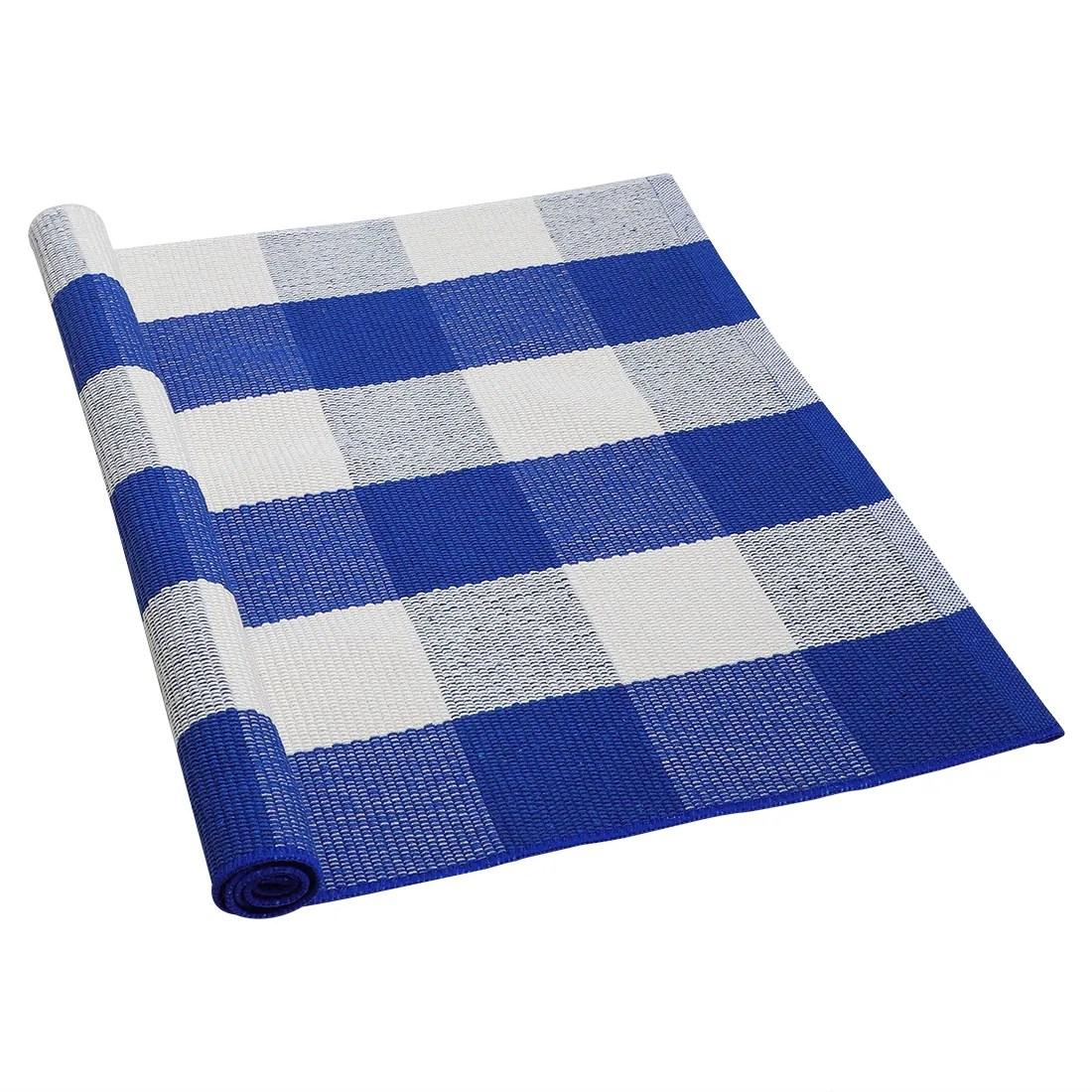 Cotton Checkered Plaid Floor Area Rug Runner Carpet Mat Indoor Outdoor Washable