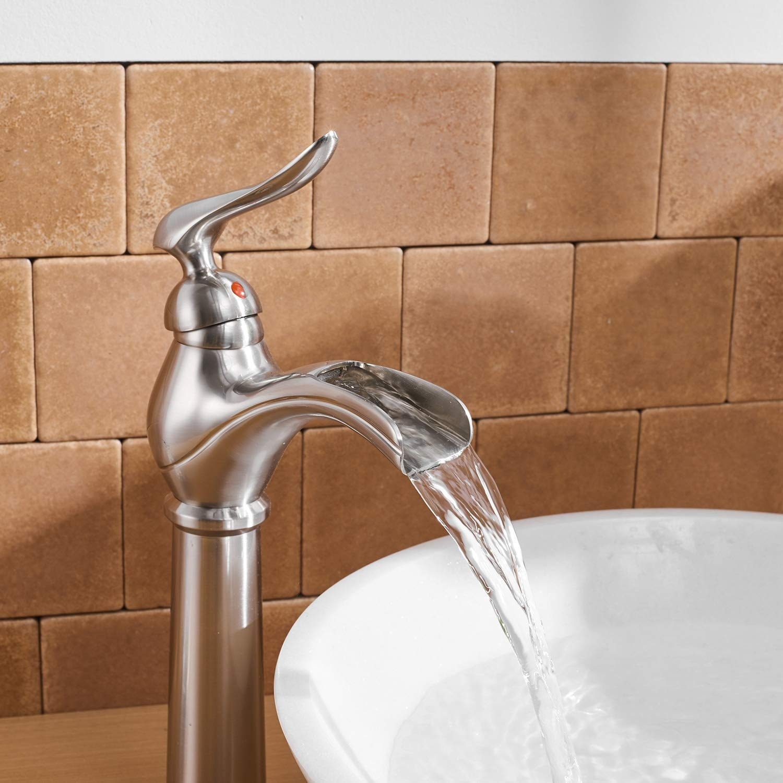 vibrantbath bathroom vessel sink faucet waterfall single handle one hole tall body deck mount