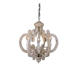 Distressed Antique White 6 Light Wood Chandelier