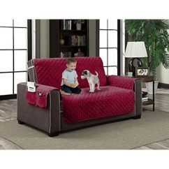 Quilted Microsuede Sofa Cover Tommy Bahama Set Home Dynamix Slipcovers All Season Microfiber Pet Furniture Couch Protector Red