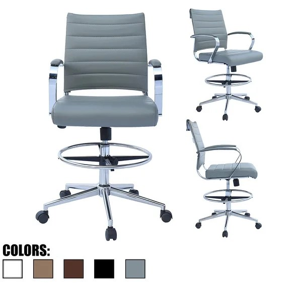 modern drafting chair bathtub sitting for baby shop designer ergonomic office with arms ribbed computer gray