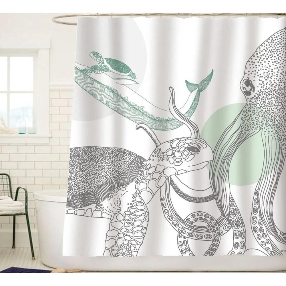 ocean animals white fabric shower curtain green gray black