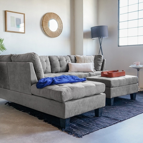3 piece microfiber sectional sofa