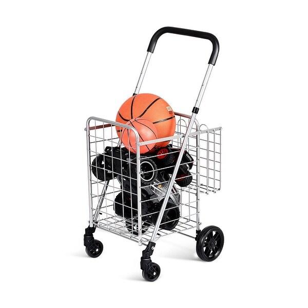 Shop Costway Folding Shopping Cart Jumbo Basket Rolling