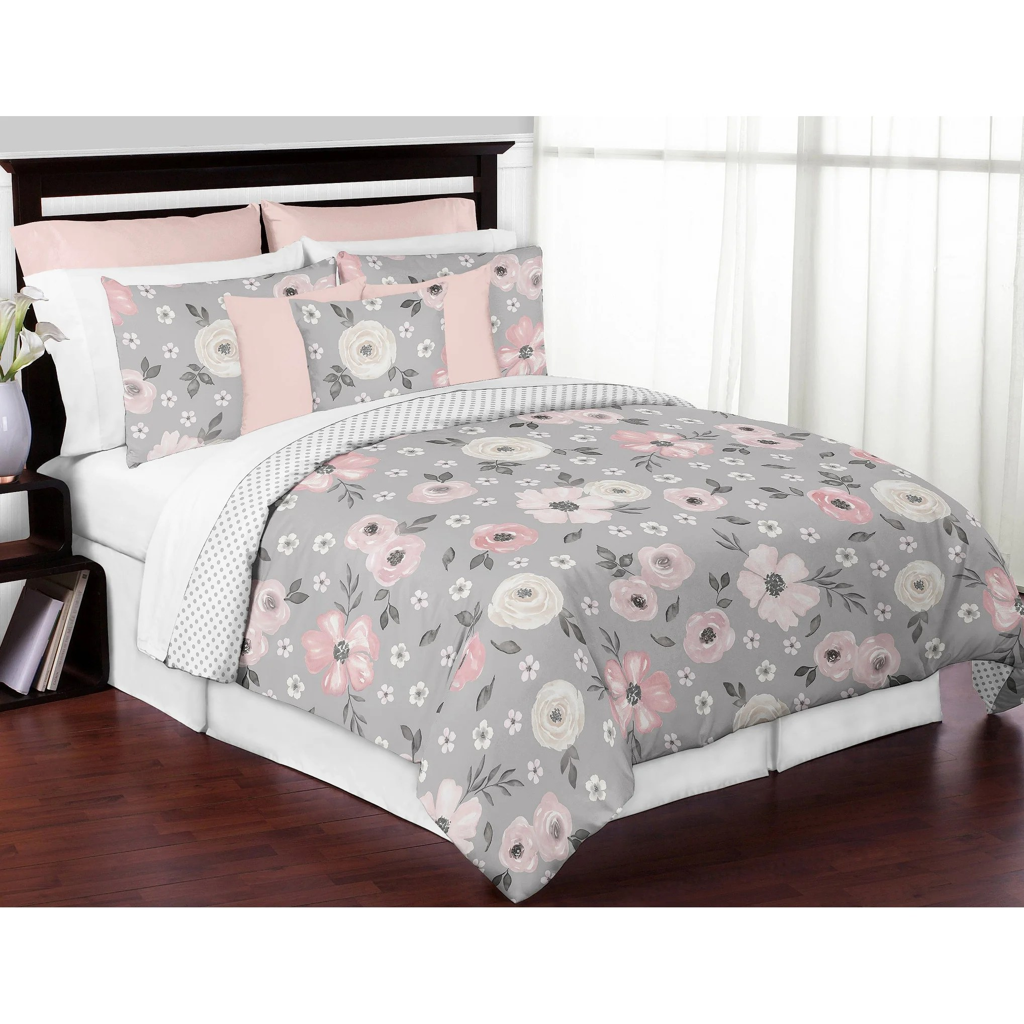 grey watercolor floral girl 3pc full queen comforter set blush pink gray white shabby chic rose flower polka dot farmhouse