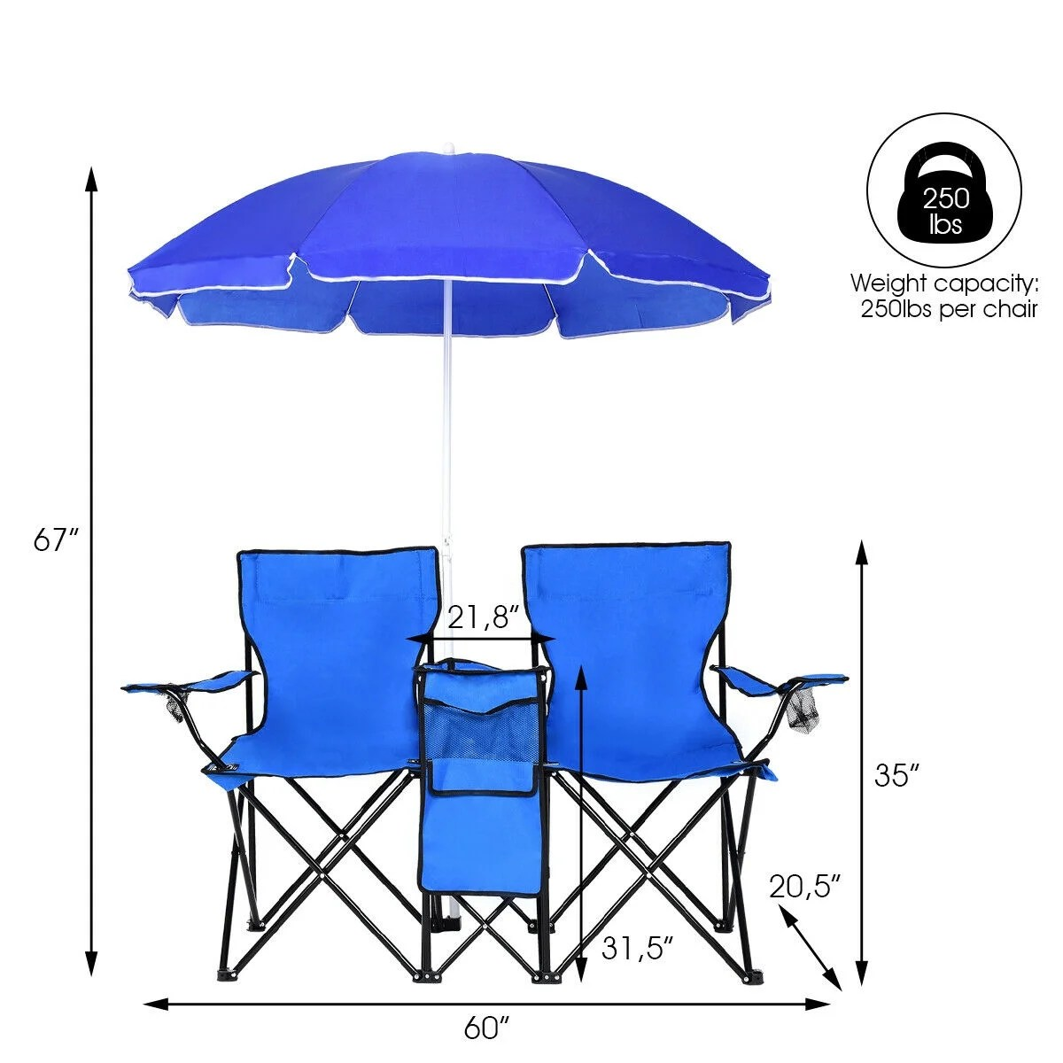 Chair With Umbrella Costway Portable Folding Picnic Double Chair W Umbrella Table Cooler Beach Camping Chair