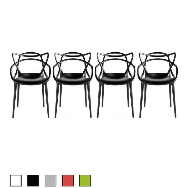 stackable dining room chairs barrel back shop 2xhome set of 4 modern contemporary plastic design masters chair arm outdoor living
