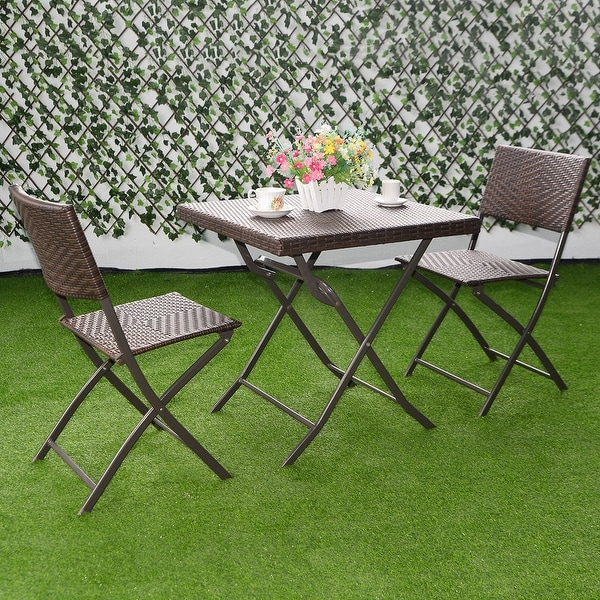 rattan table and chairs how to upholster a chair shop costway 3 pc outdoor folding furniture set wicker bistro patio brown