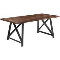 Shop 2xhome Dark Wood Industrial Mid Century Modern Table ...
