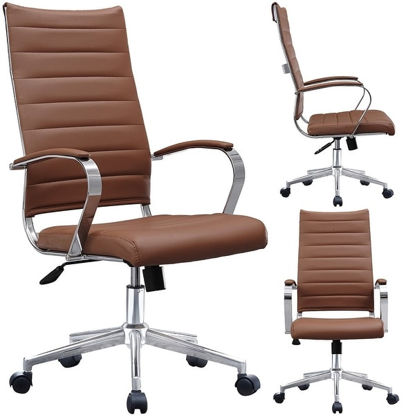 pu leather office chair executive manufacturers shop 2xhome modern brown high back ribbed swivel conference room computer desk visitor