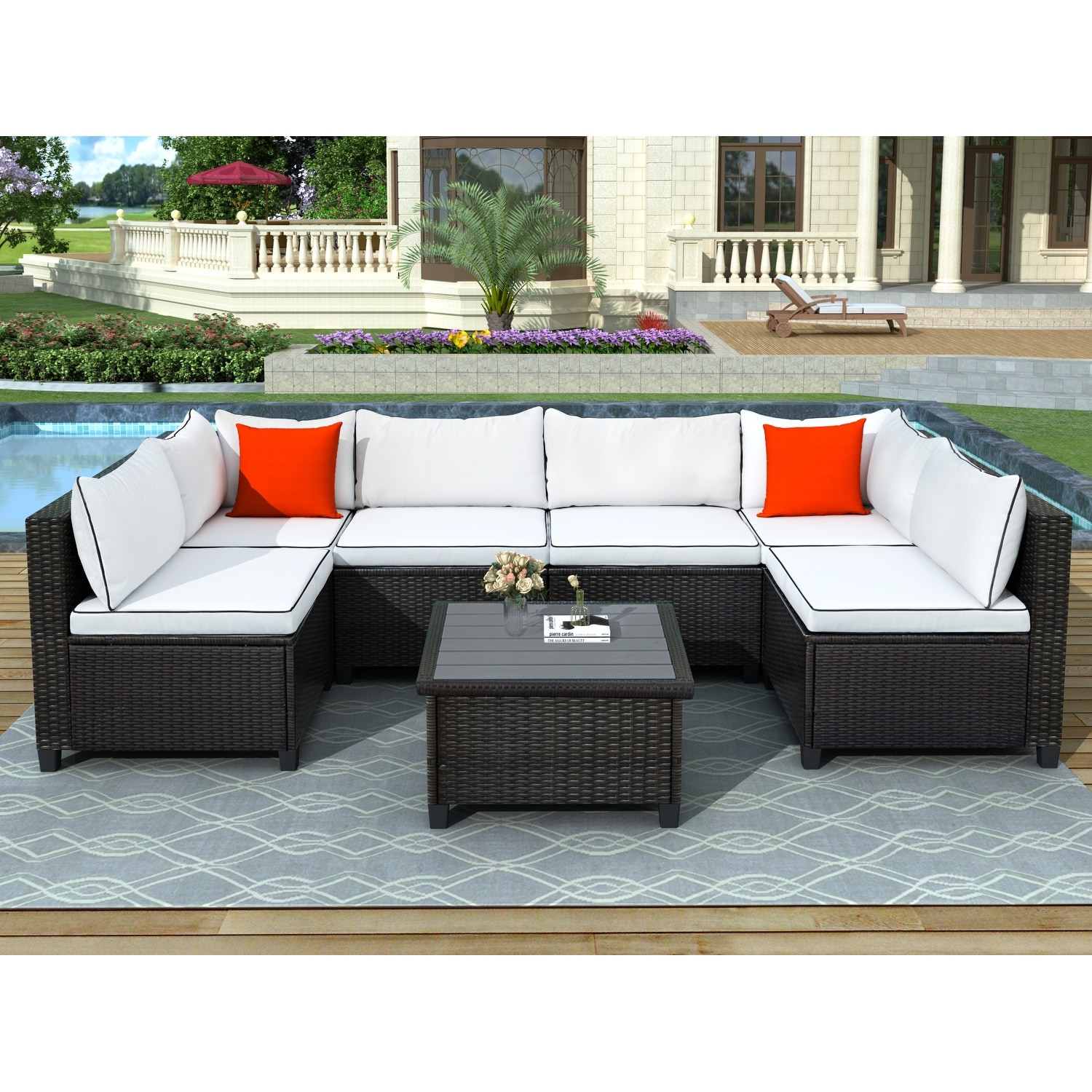 nestfair u shape sectional outdoor furniture set with cushions and accent pillows