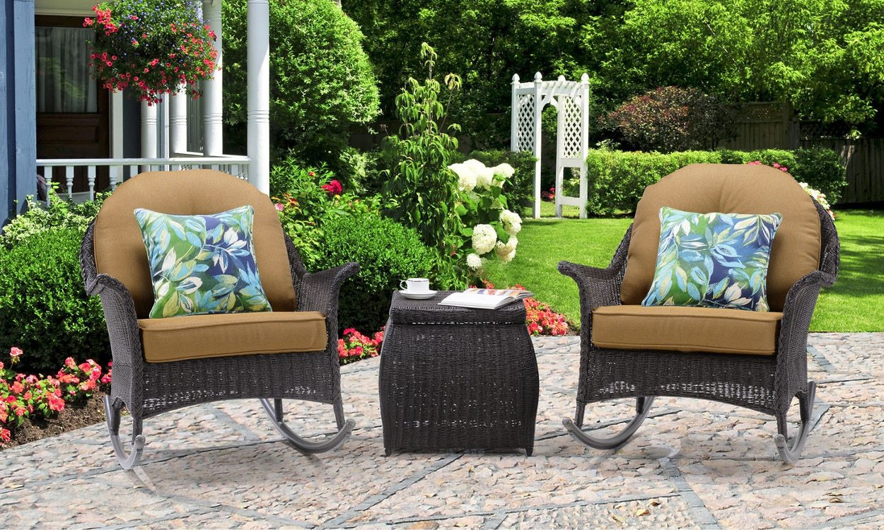 outdoor rocking chairs osha chair requirements 3 tips for buying overstock com wicker with tan cushions on patio