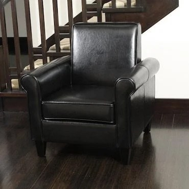 black leather club chair and ottoman desk costco how to find great cheap chairs overstock com classic is subtly sophisticated