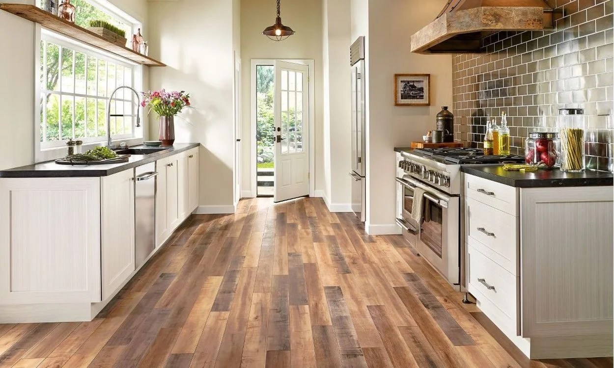 wood floors in kitchen carts and islands best budget friendly flooring options overstock com