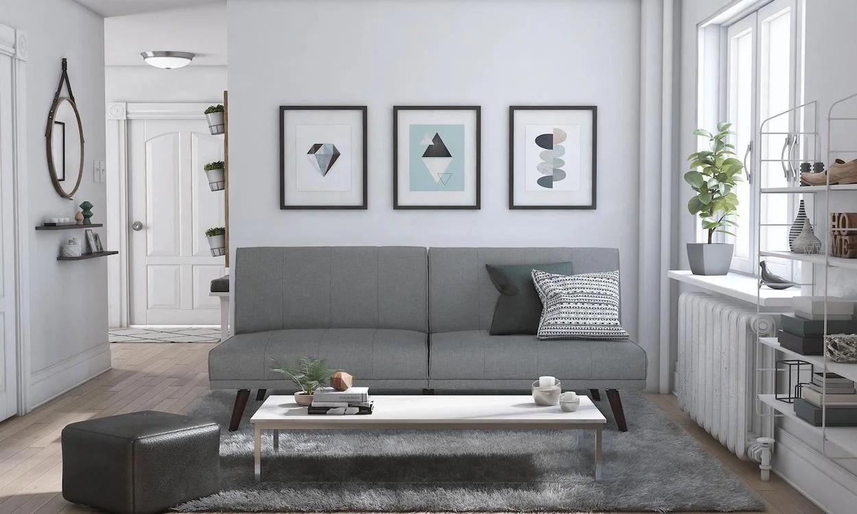 hight resolution of gray futon bed