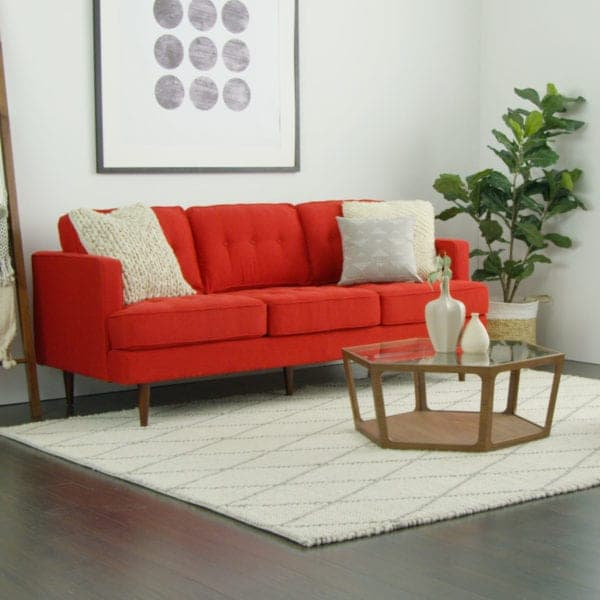 images of living room with red sofa stretch twill slipcover 3 ways to style around a overstock com neutral