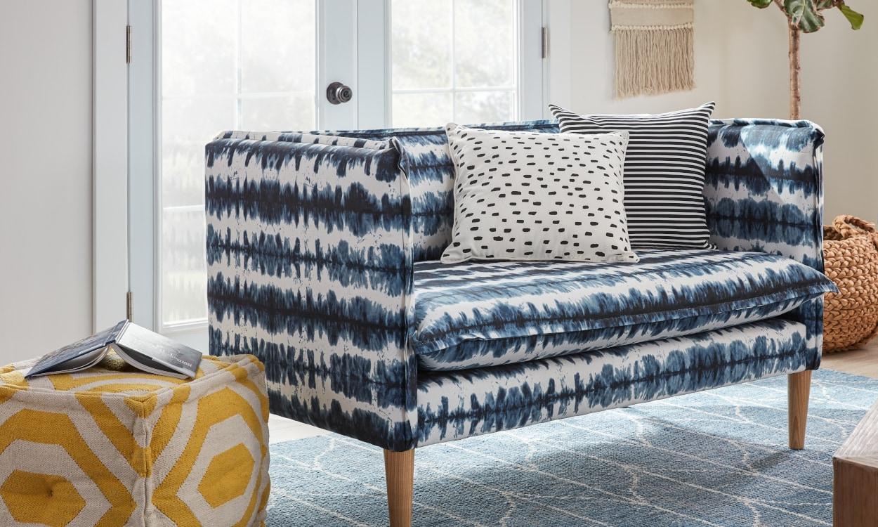 small living rooms with sectional sofas room makeover ideas couches for spaces overstock com blue and white pattern settee in a space