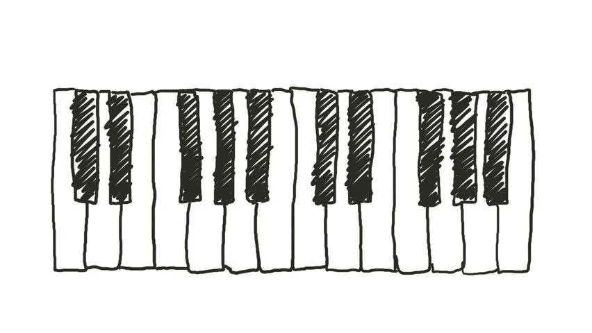 Animated Jazz Instruments Including Piano Stock Footage