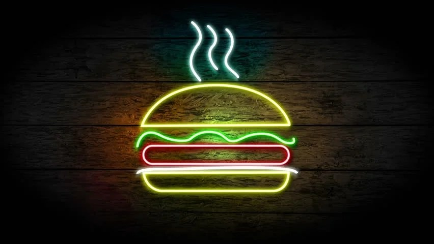 Shutterstock Hd Wallpapers Neon Hamburger Sign Turning On Stock Footage Video 100