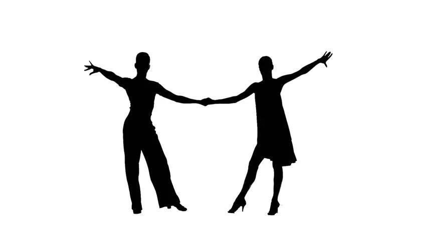 Pair Silhouette Professional Dancing Samba Stock Footage