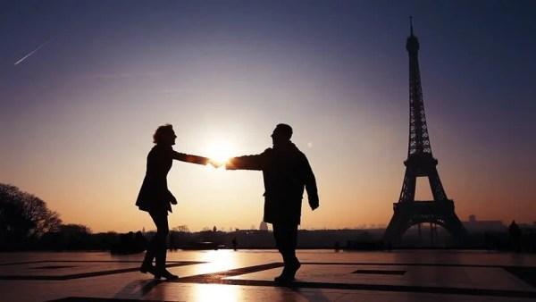 silhouettes of romantic loving