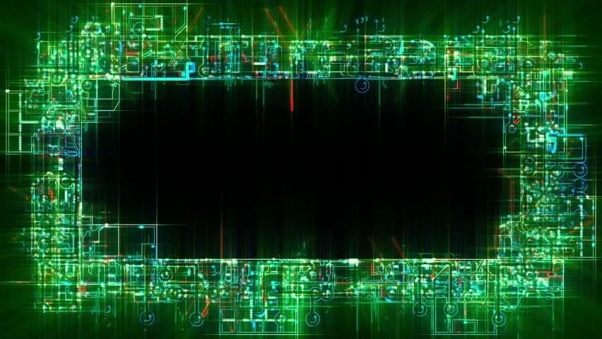 Green Circuit Board And Binary Symbols Loop Stock Animation Royalty
