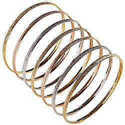 14k Tri-color Gold Textured 'Semanario' Bangle (Set of 7)