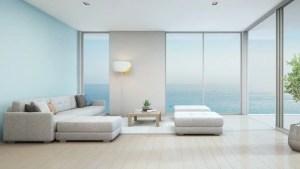 living luxury interior beach sea modern 3d rendering wall hotel floor near shutterstock glass sofa indoor plant