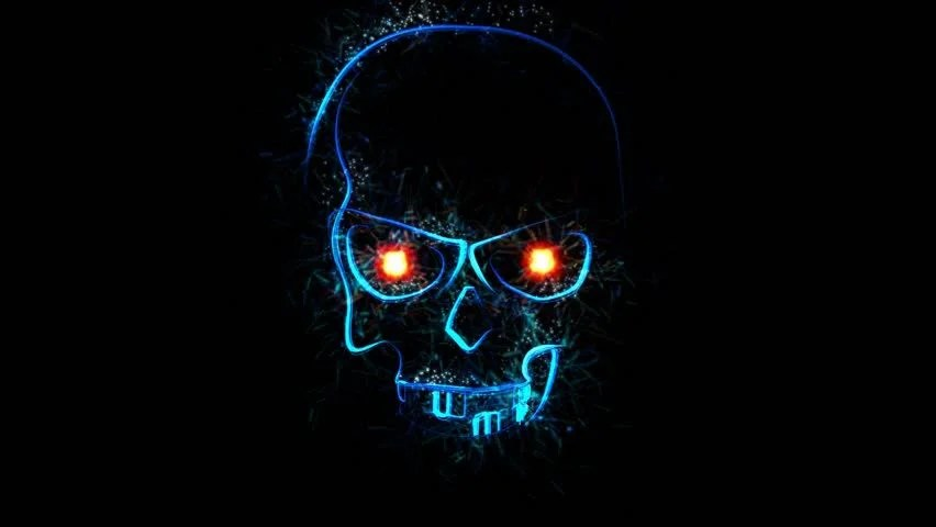 Trippy Animated Wallpapers Blue Evil Skull With Glowing Video De Stock Totalmente