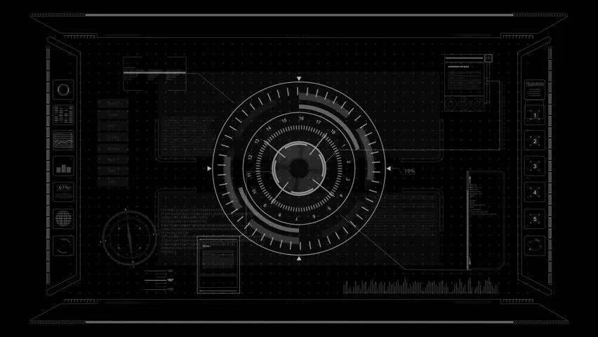 Hologram Wallpaper Hd Futuristic Hud Target With Computer Data Screen At The End