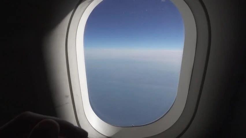 Aircraft Passenger Closes Plane Window Plastic Curtain