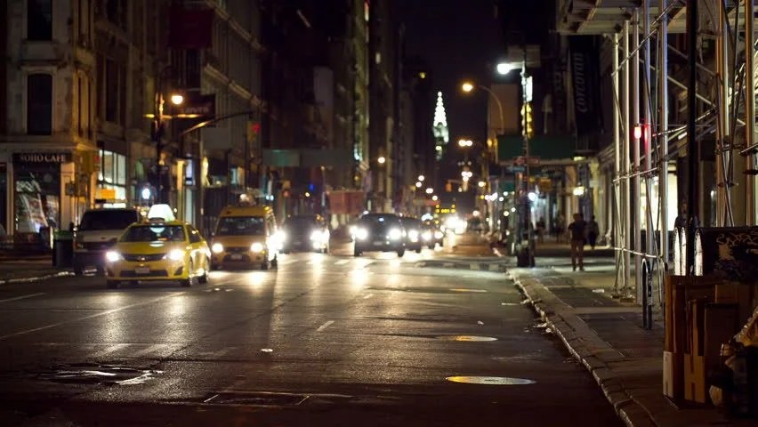 Car Parked At Night Wallpaper  New York Aug 1 2014 People Crossing Dark Soho